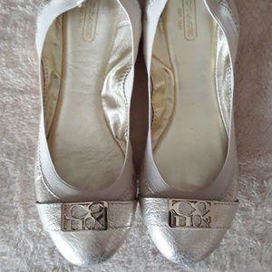 Coach Gold Dora Ballet Flats